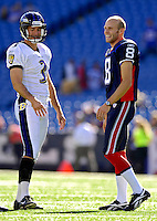 21 October 2007: Baltimore Ravens kicker Matt Stover (3) talks with Bills punter Brian Moorman (8) prior to a game against the Buffalo Bills at Ralph Wilson Stadium in Orchard Park, NY. The Bills defeated the Ravens 19-14 in front of 70,727 fans for their second win of the 2007 season...Mandatory Photo Credit: Ed Wolfstein Photo