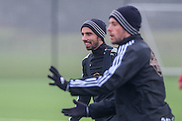 Thursday  21 January 2016<br /> Pictured L-R: Leon Britton and Gylfi Sigurdsson of Swansea in action during training <br /> Re: Swansea City Training Session at the Fairwood training ground
