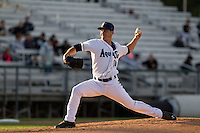 Everett Aquasox pitcher Taylor Byrd (14) delivers a pitcher during a game against the Eugene Emeralds at Everett Memorial Stadium in Everett, Washington.  Eugene defeated Everett 7-5. (Ronnie Allen/Four Seam Images)