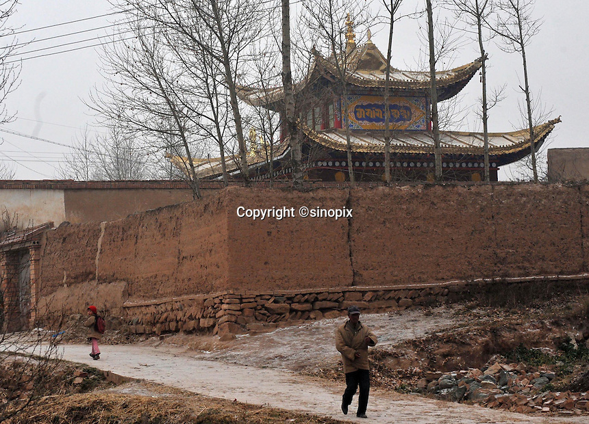 The house where the present Dalai Lama was born has been re-built in traditional ornate style, Shihui Yao Township, Honghai Viallge 13 November 2008. Qinghai Province in western China borders Tibet and parts were the scenes of disturbance earlier this year, 2008.<br /> <br /> Photo by Richard Jones