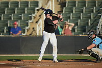 Evan Skoug (9) of the Kannapolis Intimidators at bat against the Hickory Crawdads at Kannapolis Intimidators Stadium on May 6, 2019 in Kannapolis, North Carolina. The Crawdads defeated the Intimidators 2-1 in game one of a double-header. (Brian Westerholt/Four Seam Images)