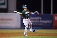 Daytona Tortugas shortstop Blake Trahan (7) throws to first during a game against the Tampa Yankees on August 5, 2016 at George M. Steinbrenner Field in Tampa, Florida.  Tampa defeated Daytona 7-1.  (Mike Janes/Four Seam Images)