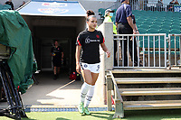 CARY, NC - SEPTEMBER 12: Sophia Smith #9 of the Portland Thorns FC takes the field before a game between Portland Thorns FC and North Carolina Courage at Sahlen's Stadium at WakeMed Soccer Park on September 12, 2021 in Cary, North Carolina.