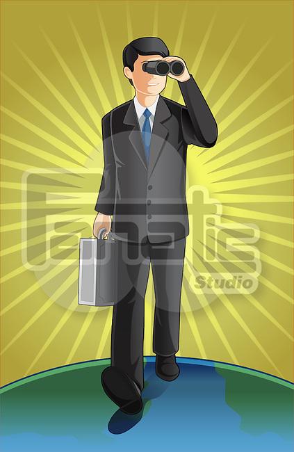 Illustrative image of businessman with briefcase looking through binoculars representing market analysis