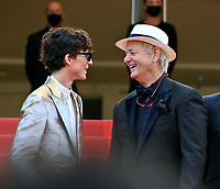 CANNES, FRANCE. July 12, 2021: Timothee Chalamet, Bill Murray & Hippolyte Girardot at the gala premiere of Wes Anderson's The French Despatch at the 74th Festival de Cannes.<br /> Picture: Paul Smith / Featureflash
