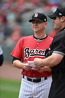***Temporary Unedited Reference File***Birmingham Barons manager Ryan Newman (5) during a game against the Pensacola Blue Wahoos on May 2, 2016 at Regions Field in Birmingham, Alabama.  Pensacola defeated Birmingham 6-3.  (Mike Janes/Four Seam Images)