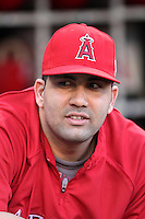 Los Angeles Angels first baseman Kendrys Morales #8 before a game against the Texas Rangers at Angel Stadium on September 27, 2011 in Anaheim,California. Texas defeated Los Angeles 10-3.(Larry Goren/Four Seam Images)