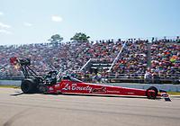 Aug 18, 2019; Brainerd, MN, USA; NHRA top fuel driver Doug Kalitta during the Lucas Oil Nationals at Brainerd International Raceway. Mandatory Credit: Mark J. Rebilas-USA TODAY Sports