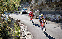 World Champion & white jersey / best young rider Mads Pedersen (DEN/Trek-Segafredo) coming down the Col de Turini<br /> <br /> Stage 2 from Nice to Nice (186km)<br /> <br /> 107th Tour de France 2020 (2.UWT)<br /> (the 'postponed edition' held in september)<br /> <br /> ©kramon