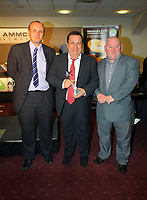 Pictured: Announcer Kevin Johns receiving his Lifetime Achievement Award by Phil Sumbler (L) and Huw Cooze (R). Thursday 10 May 2012<br /> Re: Swansea City FC awards dinner at the Liberty Stadium.
