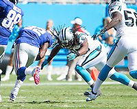 The Carolina Panthers played the New York Giants at Bank of America Stadium in Charlotte, NC.  The Panthers won 38-0 for their first victory of the season.  The Giants dropped to 0-3.  New York Giants running back David Wilson (22), Carolina Panthers safety Robert Lester (38)