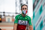 Italian Champion Marta Bastianelli (ITA) Ale BTC Ljubljana masked up at sign on before the start of La Course By Le Tour de France 2020, running 96km from Nice to Nice, France. 29th August 2020.<br /> Picture: ASO/Thomas Maheux | Cyclefile<br /> All photos usage must carry mandatory copyright credit (© Cyclefile | ASO/Thomas Maheux)