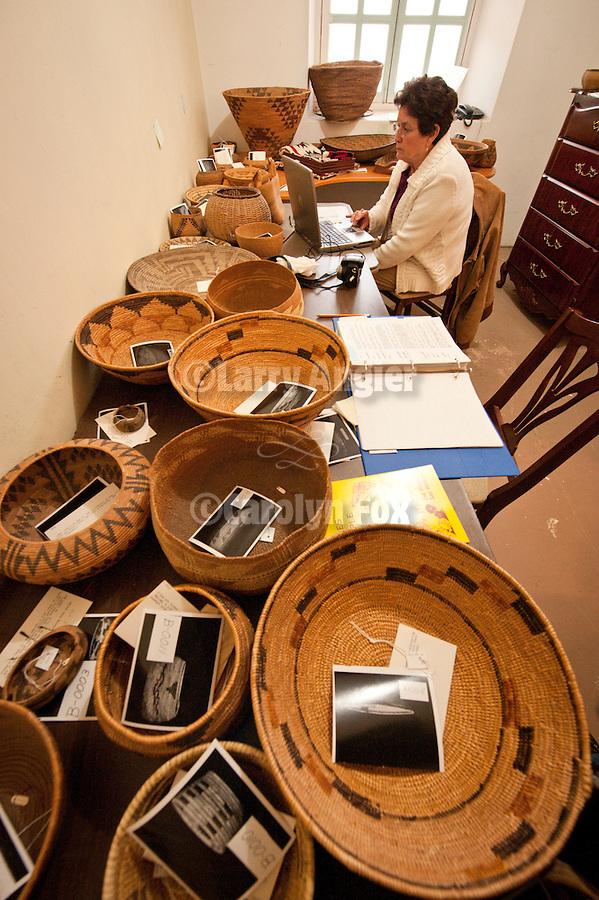 Native American basket collection, Mission San Antonio de Padua, California,