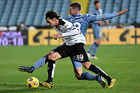 Luca Vignali of Spezia Calcio and Robin Gosens of Atalanta BC compete for the ball during the Serie A football match between Spezia Calcio and Atalanta BC at Dino Manuzzi stadium in Cesena (Italy), November 20th, 2020. Photo Andrea Staccioli / Insidefoto