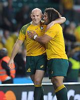 Stephen Moore and Tatafu Polota-Nau of Australia during Match 35 of the Rugby World Cup 2015 between Australia and Wales - 10/10/2015 - Twickenham Stadium, London<br /> Mandatory Credit: Rob Munro/Stewart Communications