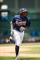 GCL Braves left fielder Sander Boeldak (23) runs to first during a game against the GCL Blue Jays on August 5, 2016 at ESPN Wide World of Sports in Orlando, Florida.  GCL Braves defeated the GCL Blue Jays 9-0.  (Mike Janes/Four Seam Images)