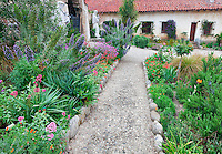 Pathway in gardens at the Carmel Mission. Carmel by the Sea, California.