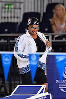 Caroline Puamau of FIJ arrives to compete in 50 meter backstroke final during Commonwealth Games Swimming, Monday, July 28, 2014 in Glasgow, United Kingdom. (Mo Khursheed/TFV Media via AP Images)