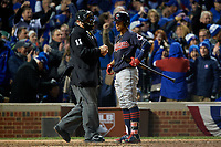 Cleveland Indians Francisco Lindor (12) stands at home after a strike three call by umpire Tony Randazzo in the eighth inning during Game 5 of the Major League Baseball World Series against the Chicago Cubs on October 30, 2016 at Wrigley Field in Chicago, Illinois.  (Mike Janes/Four Seam Images)