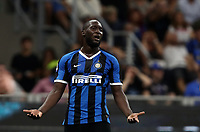 Calcio, Serie A: Inter Milano - Lecce, Giuseppe Meazza stadium, September 26 agosto 2019.<br /> Inter's Romelu Lukaku reacts during the Italian Serie A football match between Inter and Lecce at Giuseppe Meazza (San Siro) stadium, September August 26,, 2019.<br /> UPDATE IMAGES PRESS/Isabella Bonotto