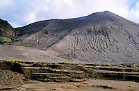 Looking across the ash plain where former Siwi Lake used to be with the billowing smoke of Yasur Volcano in the background, Yasur Volcano, Tanna Island, Vanuatu.