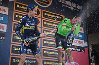 champaign battle on the finish podium between race winner Rigoberto Uran (COL/Cannondale-Drapac) & runner-up Adam Yates (GBR/Orica-Scott)<br /> <br /> 98th Milano - Torino 2017 (ITA) 186km