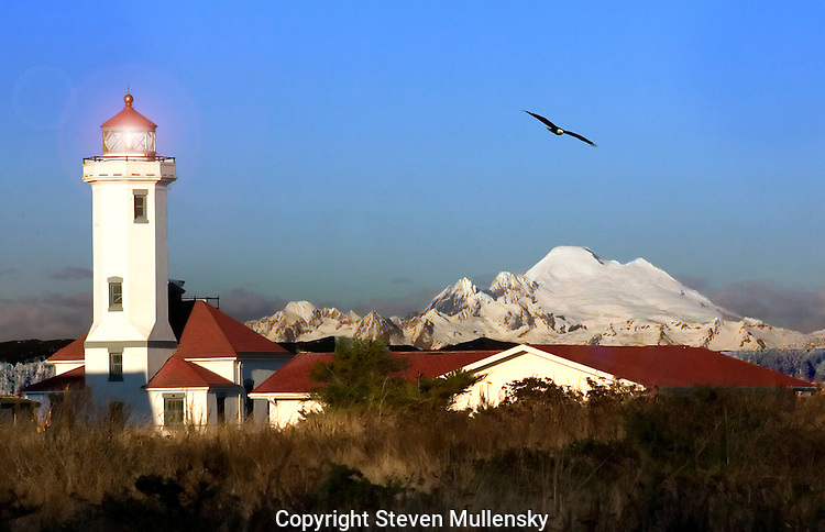 A passing Bald Eagle glides by the Point Wilson Lighthouse at Fort Worden State Park in Port Townsend, Washington. Snow capped Mount Baker looms majestically in the background.