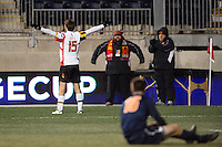 Maryland Terrapins forward Patrick Mullins (15) celebrates scoring during the second half against the Virginia Cavaliers. The Maryland Terrapins defeated Virginia Cavaliers 2-1 during the semifinals of the 2013 NCAA division 1 men's soccer College Cup at PPL Park in Chester, PA, on December 13, 2013.