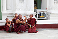 Myanmar, Burma.  Shwedagon Pagoda, Yangon, Rangoon.  Buddhist Monk Photographing the Stupa.  Monks can be tourists too.