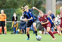 Brugge's Marie Minnaert pictured in front of Justine Gomboso of Racing Genk during a female soccer game between Club Brugge Dames YLA and Racing Genk Ladies on the second matchday of the 2020 - 2021 season of Belgian Scooore Women s SuperLeague , saturday 5 th of September 2020  in Brugge , Belgium . PHOTO SPORTPIX.BE   SPP   DAVID CATRY