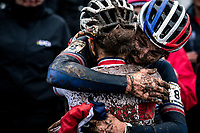 Marion Riberolle (FRA) congratulated by Anna Kay (GBR)<br /> <br /> Women's U23 race<br /> UCI 2020 Cyclocross World Championships<br /> Dübendorf / Switzerland<br /> <br /> ©kramon