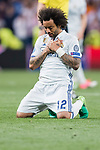 Marcelo Vieira Da Silva of Real Madrid celebrates winning after their 2016-17 UEFA Champions League Quarter-finals second leg match between Real Madrid and FC Bayern Munich at the Estadio Santiago Bernabeu on 18 April 2017 in Madrid, Spain. Photo by Diego Gonzalez Souto / Power Sport Images
