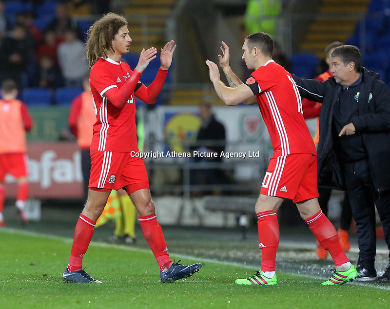 Ethan Ampadu of Wales (L) is substituted during the international friendly soccer match between Wales and Panama at Cardiff City Stadium, Cardiff, Wales, UK. Tuesday 14 November 2017.
