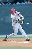 Third baseman Joe Cronin (4) of the Boston College Eagles bats in a game against the Wofford College Terriers on Friday, February 13, 2015, at Russell C. King Field in Spartanburg, South Carolina. Wofford won, 8-4. (Tom Priddy/Four Seam Images)