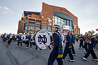 Sept 13, 2014; The Notre Dame Marching Band enters Lucas Oil Stadium for  the Shamrock Series football game against Purdue in Indianapolis. (Photo by Barbara Johnston/University of Notre Dame)
