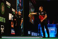 26th May 2021; Marshall Arena, Milton Keynes, Buckinghamshire, England; Professional Darts Corporation, Unibet Premier League Night 15 Milton Keynes; Dimitri Van den Bergh in action against James Wade