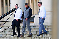 Pictured: Christopher Cooksey (centre) leaves Cardiff Crown Court. Wednesday 10 October 2018 <br /> Re: Christopher Cooksey denies controlling behaviour, false imprisonment, assault by beating, administering poison and four counts of assault occasioning actual bodily harm
