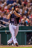 28 April 2017: Washington Nationals second baseman Daniel Murphy at bat against the New York Mets at Nationals Park in Washington, DC. The Mets defeated the Nationals 7-5 to take the first game of their 3-game weekend series. Mandatory Credit: Ed Wolfstein Photo *** RAW (NEF) Image File Available ***