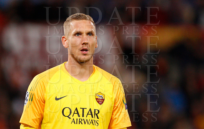 Roma's goalkeeper Robin Olsen during the Champions League football match between Roma and Viktoria Plzen at Rome's Olympic stadium, October 2, 2018.<br /> UPDATE IMAGES PRESS/Riccardo De Luca