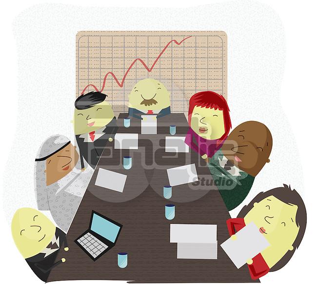 Global board of directors having a meeting