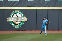 Old Dominion Monarchs left fielder Kyle Battle (16) throws the ball back to the infield during the game against the Charlotte 49ers at Hayes Stadium on April 25, 2021 in Charlotte, North Carolina. (Brian Westerholt/Four Seam Images)