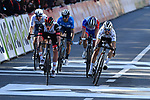 Tadej Pogacar (SLO) UAE Team Emirates, World Champion Julian Alaphilippe (FRA) Deceuninck-QuickStep, Alejandro Valverde (ESP) Movistar Team, David Gaudu (FRA) Groupama-FDJ and Michael Woods (CAN) Israel Start-up Nation sprint for the finish line at the end of the 107th edition of Liege-Bastogne-Liege 2021, running 259.1km from Liege to Liege, Belgium. 25th April 221.  <br /> Picture: Serge Waldbillig | Cyclefile<br /> <br /> All photos usage must carry mandatory copyright credit (© Cyclefile | Serge Waldbillig)