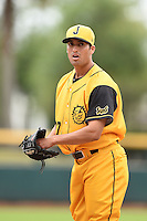 Jacksonville Suns  pitcher Greg Nappo (37) warms up in the bullpen during a game against the Pensacola Blue Wahoos on April 20, 2014 at Bragan Field in Jacksonville, Florida.  Jacksonville defeated Pensacola 5-4.  (Mike Janes/Four Seam Images)