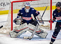 8 February 2020: University of Connecticut Husky Goaltender Samantha Carpentier-Yelle, a Sophomore from Bromont, Quebec, keeps an eye on an inbound shot against the University of Vermont Catamounts at Gutterson Fieldhouse in Burlington, Vermont. The Huskies defeated the Lady Cats 4-2 in the first game of their weekend Hockey East series. Mandatory Credit: Ed Wolfstein Photo *** RAW (NEF) Image File Available ***