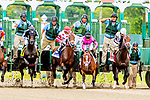 JUNE 16, 2019 : Maximum Security stumbles at the start, and King for a Day (#3),with Joe Bravo, scores an upset over Maximum Security by winning the Pegasus Stakes, at Monmouth Park, in Oceanport, NJ, June 16, 2019.  Sue Kawczynski_ESW_CSM