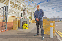 Pictured: Julian Winter. Tuesday 24 March 2021<br /> Re: Swansea City AFC Chairman Julian Winter has laid a wreath to remember all those who have died of Covid-19, at the club's memorial garden outside the Liberty Stadium, Swansea, Wales, UK.