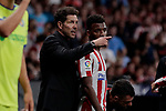 Atletico de Madrid's coach Diego Pablo Simeone have words with Thomas Lemar during La Liga match between Atletico de Madrid and Getafe CF at Wanda Metropolitano Stadium in Madrid, Spain. August 18, 2019. (ALTERPHOTOS/A. Perez Meca)