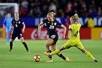 Carson, CA - November 13, 2016: The U.S. Women's National team take a 2-0 lead over Romania in an international friendly game at StubHub Center.