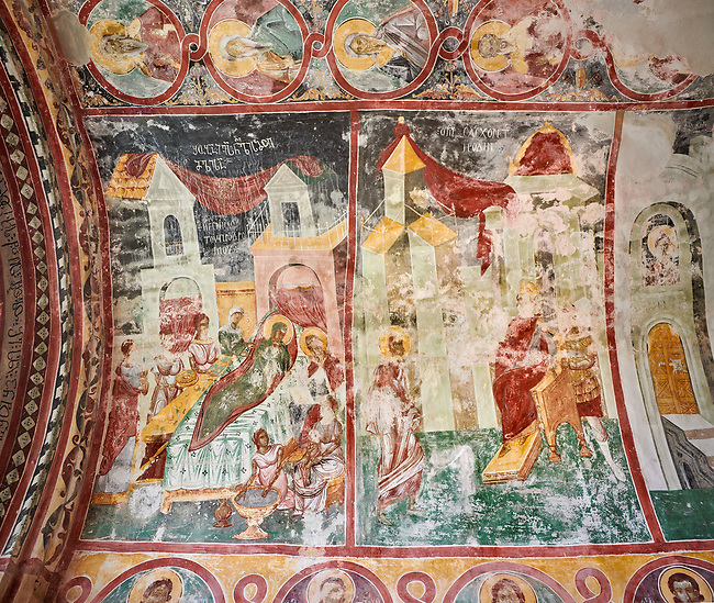 Pictures & images of the Byzantine fresco panels in the Gelati Georgian Orthodox Church of the Virgin, 1106, depicting scenes from the life of the Virgin Mary. The medieval Gelati monastic complex near Kutaisi in the Imereti region of western Georgia (country). A UNESCO World Heritage Site.
