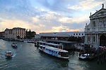 78th Venice Film Festival  at the Lido in Venice, Italy on September 7, 2021. Grand Canal with a Vaporetto in front of the Santa Lucia Railway station